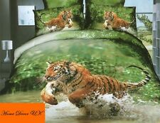 Double size Tiger in river print 3d duvet cover bedding set 100% cotton UK size