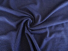 1m Navy White Spot Eyelet Merino Wool Blend Fabric Jersey Knit Stretch 140g