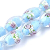 20pc SkyBlue Handmade Silver Foil Glass Lampwork Beads Oval Loose Spacer 16~17mm