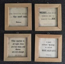"Set x 4 Rustic Wood Sign 7"" x 7"" wine, martini, drinks, whisky. Quotes. Man Cave"