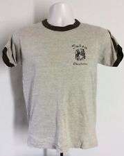 Vtg 70s 80s Tulsa Oklahoma Ringer T-Shirt Heather Brown S Vacation Souvenir