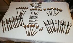 ANTIQUE SOUTH SEAS PATTERN 58pc SILVER PLATED CUTLERY SET BY ONEIDA COMMUNITY