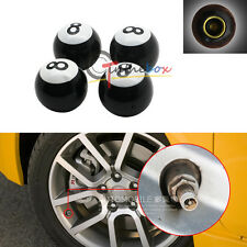 (4) Black No.8 Style Tire Wheel Valve Dust Caps Auto Wheel Valve Caps Air Dust