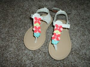 Carter's Baby Toddler Girls White Flower Sandals Size 7 Summer Shoes 2T NEW NWT