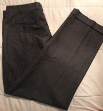 Brooks Brothers 346 Stretch Wool Pleated Dress Pants. Gray Glen Plaid, 35/31