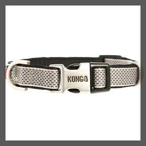 "KONG Steel Grey Padded Comfort Dog Collar HTF metal Kong buckle L 18-26"""