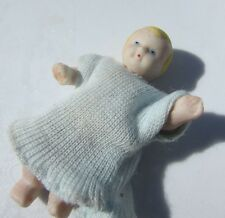"""Dollhouse Doll Baby Boy Blonde Hair Jointed Hand Painted 2"""" Vintage Artisan"""