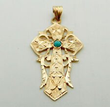 Beautiful 585 (14k) Rose Pink Gold Etched CROSS with Turquoise Accent Pendant