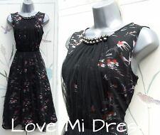 Gorgeous Dee V 40's 50's Style Bird Print  Rockabilly Dress Sz 12 EU40