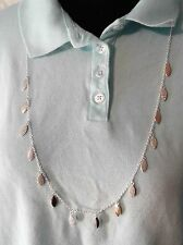 Vera Bradley Pave Leaf Necklace, Silvertone Long Chain Necklace New with Tags