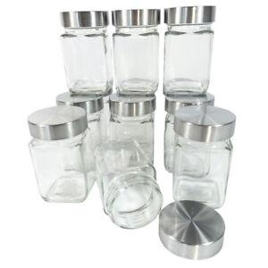 12 x Vorratsgläser Gewürzgläser Eckige Gläser Vorratsglas Einmachgläser 300 ml