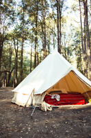 UNISTRENGH 3M Bell Tent Canvas Waterproof Camping Hiking Tent + Stove Jack