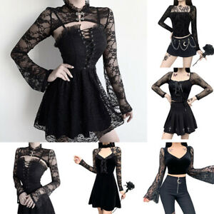 Womens Gothic Dress Top Long Sleeve Mesh Patchwork Vampire Witch Black Punk Tops