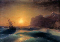 Dream-art Oil Ivan Constantinovich Aivazovsky Sea landscape & ship in sunset art