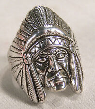 BIKER RING INDIAN HEAD RING BR110R HEAVY silver jewelry fashion novelty mens new