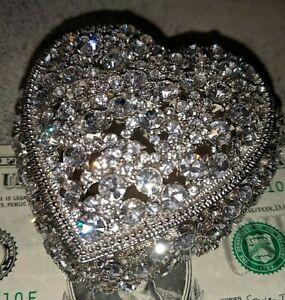 Gorgeous Olivia Riegel Silver Heart & Swarovski Crystals Jewelry Treasure Box