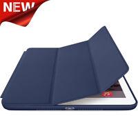 For iPad Air 2 Genuine Leather Smart Case Cover Slim Wake Dark Blue