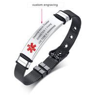 Adjustable Black Medical Alert ID Name Bracelet Watch Tag Custom Free Engraving