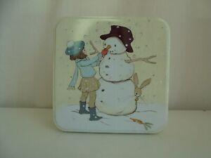 Empty Christmas Tin Snowman Decoration gift treats chocolate Square 15.5cm x 7cm
