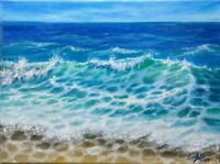 """Art12""""/9""""oil hand painting,ocean landscape, Seascape VARNISHED,Wood frame canvas"""
