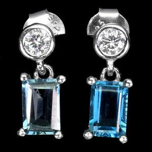 Octagon London Blue Topaz 7x5mm Cz White Gold Plate 925 Sterling Silver Earrings