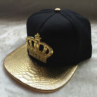 Mens Womens Snapback Bboy Hats Crown Baseball Adjustable Hip Hop Caps Black
