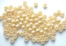 50 Cream Pearl LARGE HOLE BEADS 8x6mm x 4mm hole - post discounts available