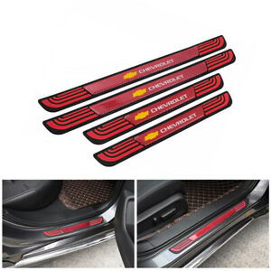 4PCS Red Rubber Car Door Scuff Sill Cover Panel Step Protector For Chevrolet