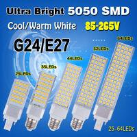 G24 E27 5/7/9/11/13W 5050SMD Horizontal Plug LED Corn Lights Bulb Lamps 110/220V