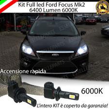 KIT FULL LED FORD FOCUS II LAMPADE H7 6000K XENON BIANCO GHIACCIO NO ERROR