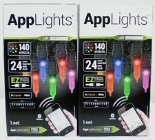 (2) Boxes Gemmy AppLights 24 Faceted LED Bulbs Light Show Bluetooth 140 Effects