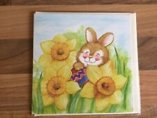 Happy Easter Card (Bunny Rabbit Holding An Egg) New & Sealed.