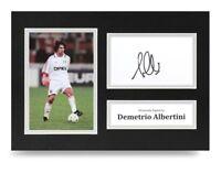 Demetrio Albertini Signed A4 Photo Display AC Milan Autograph Memorabilia + COA