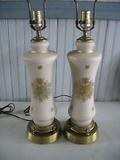 PR Vtg Hollywood Regency Wilmar Frosted Pink glass Table Lamps enamel overlay