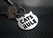 CATS RULE Cat lover Feline Keyring Keychain Key Bespoke Stainless Steel Gift
