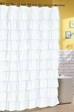 Ruffle Fabric Shower Curtain  Color white
