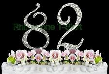 NEW Large Rhinestone  NUMBER (82) Cake Topper 82th Birthday Party Anniversary