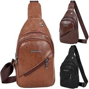 Men's Chest Bags PU Leather One Shoulder Backpack Sling Crossbody Satchel Bag