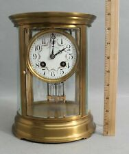 Antique Je Caldwell French Bronze Oval Crystal Regulator Mantle Clock Pendulum