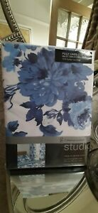 """Catherine Lansfield white and blue """"Pippa floral"""" eyelet curtains 66x72inch"""