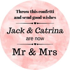 Personalised Wedding Confetti Poem Stickers Glossy Seals Labels Blush Pink