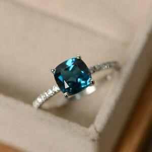 1.55 Ct Cushion Cut Blue Topaz Diamond Anniversary Ring 14K White Gold Over