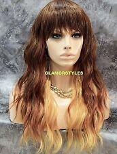 Long Wavy Layered Bangs Auburn Blonde Mix Full Synthetic Wig Hair Piece #LX2733