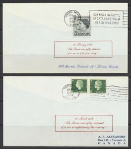 1960 & 1964 Canada Covers QEII Birth of Prince Andrew 1960 & Prince Edward 1964