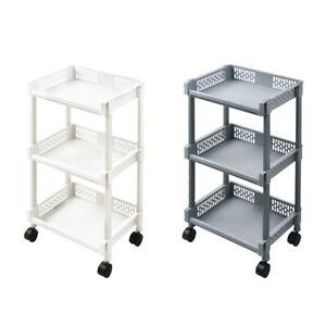 3-Tier Kitchen Storage Trolley Cart Storage Tower Rack Bathroom with Shelf Wheel