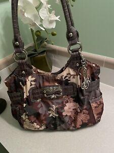 Sienna Ricchi Large Camouflage Hobo Pocketbook / Shoulder bag Vegan Leather Trim