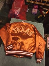 VTG 80's Swingster Texas Longhorns NCAA Football Satin Jacket Double Logo SZ L