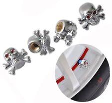 Skull Silver Alien Alloy Car Wheel Tire Tyre Valve Dust Caps Covers Set of 4 UK