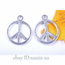 100pcs 17mm Charms peace pendant Diy Jewelry Making Necklace Tibet Silver A7028