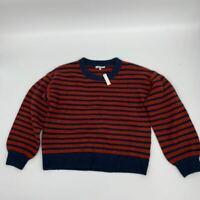 New Madewell womens crew neck sweater Sz M stripe navy red acrylic Q434